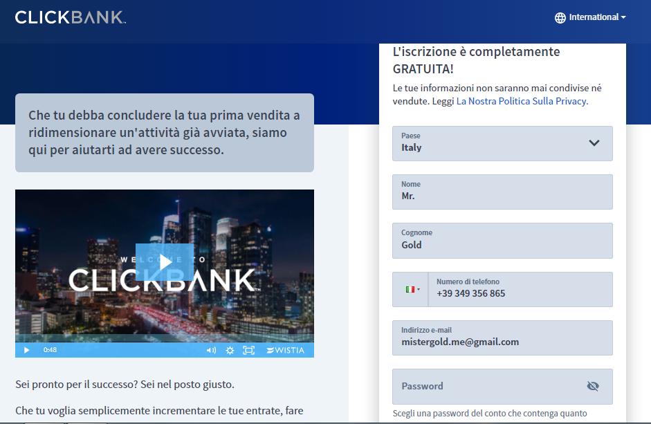 iscrizione clickbank