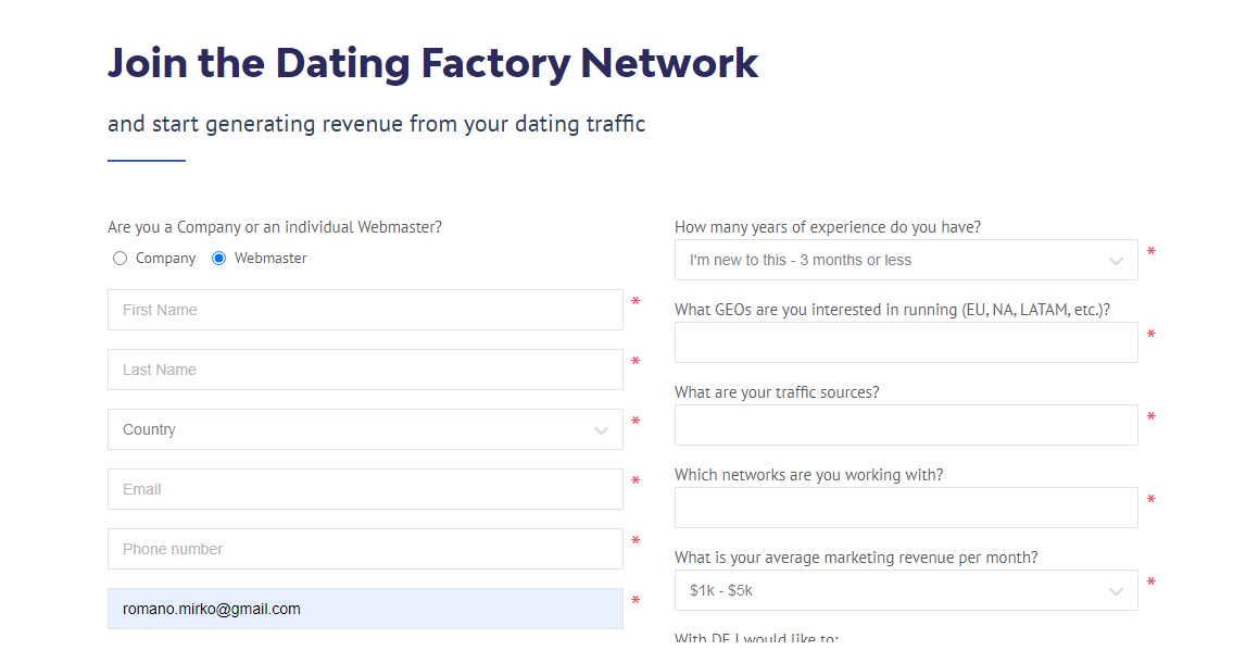 dating factory white label form registrazione