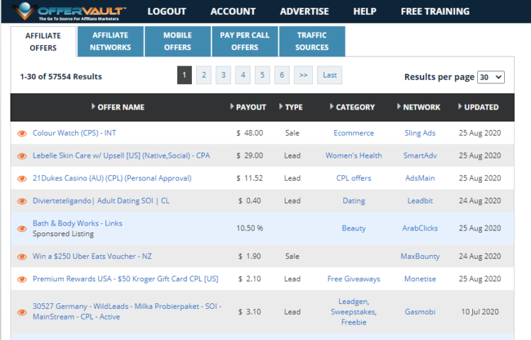 offer vault affiliate marketing network
