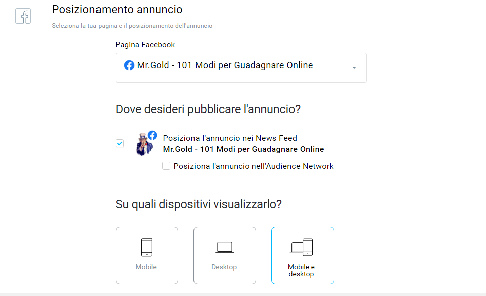 campagne facebook ads e landing page