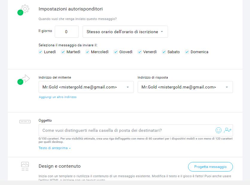 creare una mail automatica getresponse