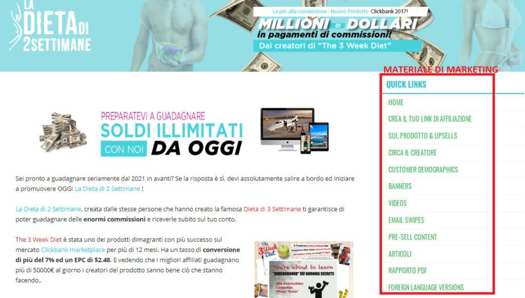 migliori prodotti marketing pagina affiliati